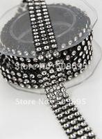 Free shipping 3 Rows x 10 yards Black & Silver Diamond ribbon wrap, sparkle wedding decoration black rhinestone mesh