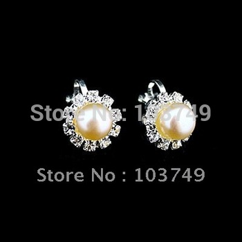 natural freshwater pearl earring mix colors rhinestone earring plated 925 earring 12pairs wholesale free shipping XBL-7721B
