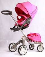 Pink Stokke Xplory Stroller which is known for innovation and quality With Carrycot