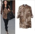 Free shipping 2013 new fashion women shirt vintage tops long sleeve blouses ladies tops leopard shirts