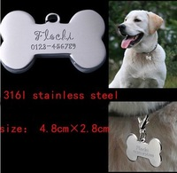 Hot sale 4.8*2.8cm stainless steel bone  dog  ID Tags