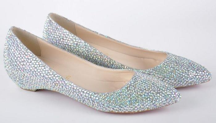 Fashion lady shoes crystal flat shoes women 39s sandal slipper dresses wedding