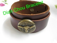 Freeshipping wholesale 10pcs /lot  leather punk style Real Leather wrap Bracelet  with chain Jewelry Hot Sale high quality SL057