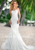 Latest elegant beautiful gorgeous mermaid crystal beaded applique satin and organza bridal gown wedding dresses WD42