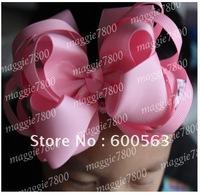 Girls' Boutique hair bow handmade ribbon hairbows hairband hairclip with crochet headband 100pcs/lot A010