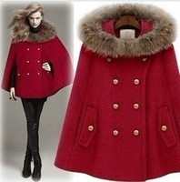 FREE SHIPPING JAPAN FASHION WOMAN'S HOT Europe and America collars cloak type parka red coat