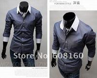 Мужская повседневная рубашка Drop ShippingFree +