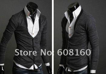 Spring 2014 V-neck men's t-shirts long sleeve skinny tshirts