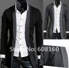 wholesale V-neck slim fit men&#39;s long t-shirt long sleeve tshirts fashion no buckle man T-shirts M,L,XL gray,black