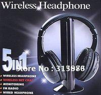 Free shipping 5 in 1 HIFI Wireless headphone Earphone Headset wireless Monitor FM radio for MP4 PC TV audio