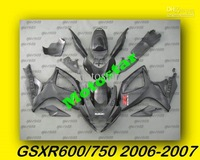 Factory Outlet,1 set Matte Black GSXR600 Fairings GSXR600/750 2006 2007 06 07 High Quality EMS Free & windscreen