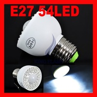 Free Shipping E27 54 LED PIR Motion Sensor Light Bulb