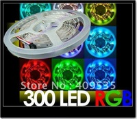 FREE EMS/DHL,50pcs/lot,5M Waterproof RGB 300leds 5050 SMD LED Strip + 44 keys Remote + power