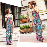 Free shipping Fashion Summer Bohemia Phoenix feathers printing Floor-length Ladie's  Dress,Sexy Ethnic Style Long Beach Skirt