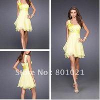Fashion A-line One Shoulder Satin Bow Embellishments Chiffon Yellow Cocktail Dresses 2012