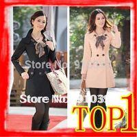FREE SHIPPING  2014 HOTSALE double breasted long trench coat / Slim waist outwear winter long coat women Plus size M,-XXXL