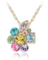 Free shipping 18 K Gold Crystal Necklace,Fashion Necklace.Wholesale Fashion Jewelry
