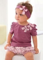 free shipping Amissa kid/baby girl 3 pieces sets hairband/coverchief t shirt girl puff sleeve top pants bloomers