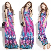 Free Shipping Ice silk cotton boximiya Ethnic ink and wash smooth long skirt/dress/Halter Floor-length beach dress/ DR06
