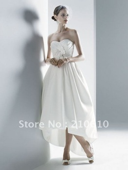 Ball Gown Ivory Strapless Modern Tea Applique Beading Short Bridal Wedding Dresses  #HS-1083