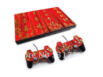 Free shipping!!! Sticker for PS2 console+2pcs controllers, OEM & Mixed designs are available.