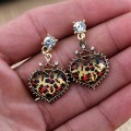 Recommended! Fashion Leopard Heart Earrings With Rhinestone Free Shipping, S0924