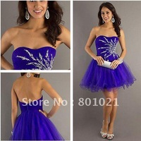 Charming A-line Strapless Sequins Embellished Tulle Purple Cocktail Dresses