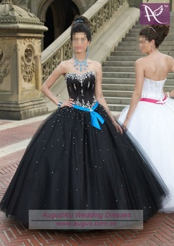 AQM-023 Hot Sale Sweetheart Neckline Beaded Tulle Black Quinceanera Dresses