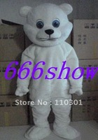 White Baby Teddy bear Adult Cartoon Mascot Costume Fancy Dress Free Shipping