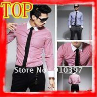Free shipping  Men's Fasion Blouse/ men 's clothing /Men's office wear /Fashion casual striped long-sleeved shirt