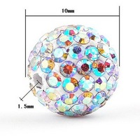 Wholesale 40pcs,10mm Shamballa Crystal Beads,Crystal AB Rhinestone Pave Disco Ball Shamballa Beads jewelry sb04,Free Shipping