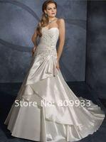 2012 fashion elegant and luxurious taffeta strapless sweetheart neckline trailing wedding