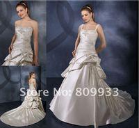 2012 fashion elegant, luxurious taffeta strapless sexy spaghetti straps long tail wedding dress