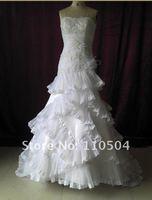 W1580 Free shipping press organza appliqued beaded designer wedding dress