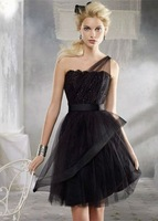 B9246 Wholesale Custom Made Free Shipping One Shoulder Lace Mini Tulle Empire 2013 new collection Bridesmaid Dresses