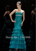 Fashion Lady Turquoise Organza Mermaid Celebrity evening dresses 2014