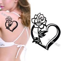 Free shipping beautiful black flowers and heart temp tattoos for women