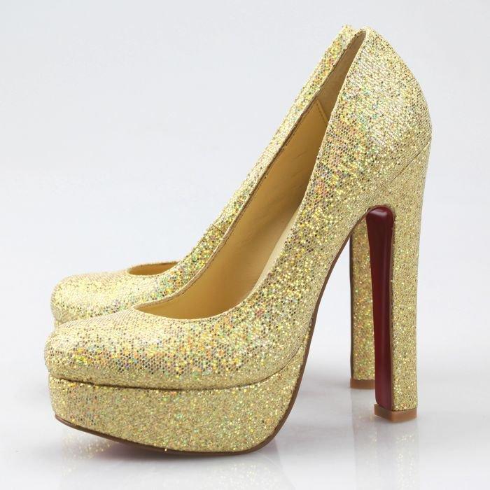Gold High Heels Pumps