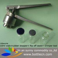 amber serum vials bottle, flip off caps with a cutoms logo hand sealer