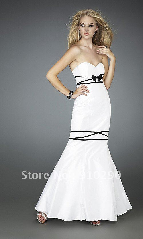 French Style Cute Chic Sophisticated Stunning Bow Strapless Mermaid Gown Dresses(China (Mainland))