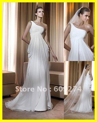 Shoulder White Dress on 2012 Designer One Shoulder Chiffon Flower Fshion White Wedding Dress