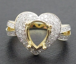 Fashion! 2012 New Design! Solid 18ct Yellow Gold Natural Diamond Semi Mount Ring Jewellery! Free Shipping!!(China (Mainland))