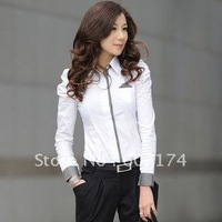 2014 New Korea style women purf sleeve business shirt,OL shirt,casual blouse,White,GT0812