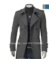 Free shipping hotsale 2013 MEN'S long coat Fashion Slim fashion coat badges woolen double - breasted coats