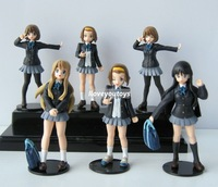 Wholesale -K-ON Hirasawa Yui Akiyama Mio school girl doll Japan anime PVC figures 6pcs set free shipping
