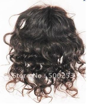 "Curly Off Black Color  Indian Virgin Hair Lace Top Closure (4"" x 4"")"