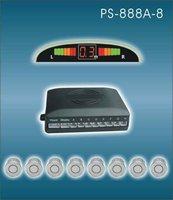 12V ultrasonic waterproof reverse sensor front rear detection wired LED buzzer alart parking sensor  PS-888-A(8 sensors)