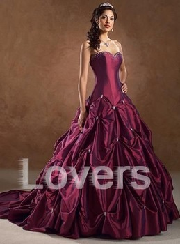 "Noble Ball Gown or ""Pick Ups Sweetheart Royal Train Custom Ruffle  Taffeta wedding dress gowns wholesale bridal gown lots"