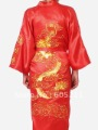 "Wholesale Newfashioned Chinese style Men's dragon silk satin  Kimono Robe/Gown Sleepwear red size M-XXXL "" LGD S0010"""