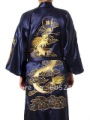 "Wholesale Newfashioned Chinese style Men's dragon silk satin  Kimono Robe/Gown Sleepwear Navy blue size M-XXXL "" LGD S0008"""